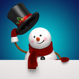 New year snowman hat greeting. Christmas Snowman holding festive greeting banner Royalty Free Stock Photos