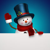 New year snowman hat greeting banner. Christmas Snowman holding festive greeting banner Stock Photos