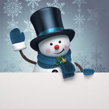 New year snowman hat greeting banner Stock Image