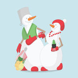 New year snowmen husband and wife Stock Photo