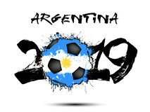 2019 New Year and a soccer ball as flag Argentina. Abstract number 2019 and soccer ball from blots painted in the colors of the Argentina flag. 2019 New Year on vector illustration