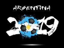 2019 New Year and a soccer ball as flag Argentina. Abstract number 2019 and soccer ball from blots painted in the colors of the Argentina flag. 2019 New Year on stock illustration