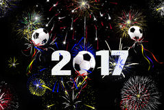 New Year 2017 soccer ball balloons Stock Photography