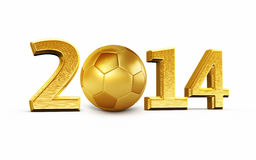 New Year 2014. And Soccer Ball gold render ( on white and clipping path Royalty Free Stock Images