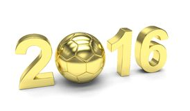 New Year 2016 and soccer ball. On white royalty free illustration