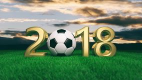 New year 2018 with soccer football ball on grass, blue sky background. 3d illustration. New year 2018 with soccer football ball on green grass, blue sky Royalty Free Stock Photos