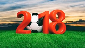 New year 2018 with soccer football ball on grass, blue sky background. 3d illustration. New year 2018 with soccer football ball on green grass, blue sky Royalty Free Stock Photo
