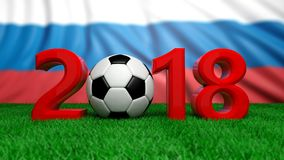 New year 2018 with soccer football ball on green field, Russia flag background. 3d illustration. New year 2018 with soccer football ball on grass, Russia flag Royalty Free Stock Photo