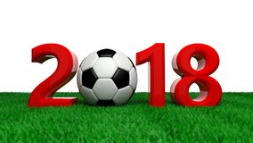 New year 2018 with soccer football ball on green field, white background. 3d illustration. New year 2018 with soccer football ball on grass, white background. 3d Royalty Free Stock Photos