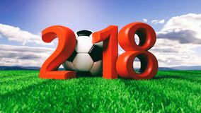 New year 2018 with soccer football ball on grass, blue sky background. 3d illustration. New year 2018 with soccer football ball on green grass, blue sky Stock Photos