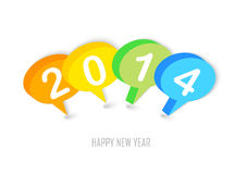 New Year 2014 social network colors bubbles. Happy new year 2014 social media colorful speech bubbles illustration. EPS10 vector file with transparency layers Stock Illustration