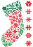 New year socks. Christmas socks via 6 different snowflake Royalty Free Stock Images