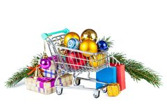 New Year is soon!. Preparation for the holiday - purchases and gifts in a cart stock photo