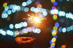 New Year Spakles With Christmas Tree Lights Stock Photography