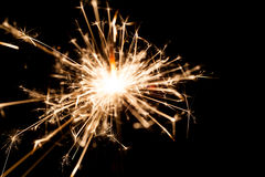 New Year sparkler on black background Royalty Free Stock Photo
