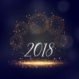 2018 new year sparkles and fireworks background greeting. Illustration Stock Images