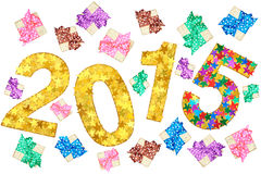 New Year 2015 decoration. Handmade colorful stars, gift boxes. New Year 2015 decoration. Closeup handmade colorful stars, gift boxes, ribbons and bows on white Stock Images