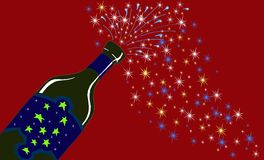 New Year' sparkling wine bottle. A symbol of the New year's Day is a bottle of sparkling wine Stock Photography