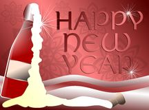 Happy new year card with bottle Stock Photo