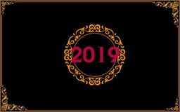 """New Year special card design. Red""""2019"""" on vintage golden round shape design which is on black backround.This all shape has a golden luxury vintage stock illustration"""