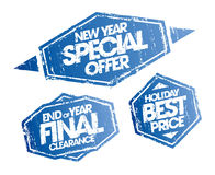 New year special offer, end of year final clearance and holiday best price stamps set. Christmas holidays sale signs Stock Image