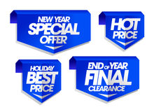 New year special offer, holiday best price, end of year final clearance, hot price holiday sale signs. Set Royalty Free Stock Photos
