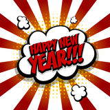New year. Speech comic bubble text red yellow Stock Images