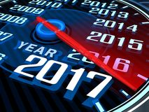 New year speedometer. Abstract new year speedometer 2017 (done in 3d rendering Royalty Free Stock Photos
