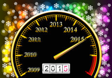 New Year 2015. Speedometer with coming new year is shown in the picture Royalty Free Stock Images