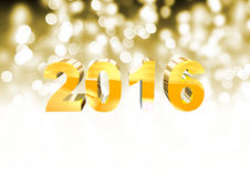 New Year 2016. 2016 spelled in 3d with blurry lights in the background Stock Photo
