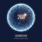 2017 new year spere. Happy New Year 2017. Vector holiday illustration of connected particles. Abstract shiny background. Technological or cyber style Royalty Free Stock Photos