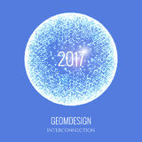 2017 new year spere. Happy New Year 2017. Vector holiday illustration of connected particles. Abstract shiny background. Technological or cyber style Royalty Free Stock Images