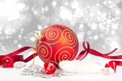 New year sphere with ribbon.  Stock Photo
