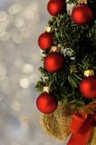 New-year spheres. New-year adornments against the holiday background Royalty Free Stock Photos