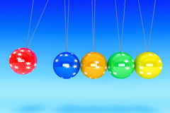New Year Spheres of Newton. New Year concept. Spheres of Newton on a blue background Royalty Free Stock Image