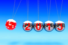 New Year Spheres of Newton. New Year concept. Spheres of Newton with 2013 on a blue background Royalty Free Stock Photos