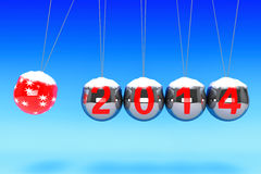 New Year Spheres of Newton. New Year concept. Spheres of Newton with 2014 on a blue background Royalty Free Stock Image