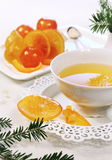 New Year spirit: Candied fruits and fir branches Stock Photography