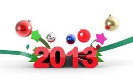 New year splash. 2013 lettering with cristmas balls and ribbons Vector Illustration