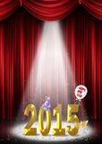 New year 2015 in spotlight. Gold New Year 2015 with party elements in the spotlight Royalty Free Stock Photos