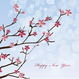 New Year Spring flowers background. Vector new year background  card Stock Photo