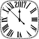 2017 New Year square clock. 2017 New Year black and white clock. Vector paper illustration Vector Illustration