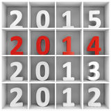 2014 new year square shelf with numbers. 2014 new year concept. White and red number characters placed on white square book shelf Royalty Free Stock Photo