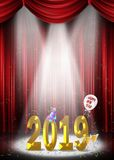 New Year 2019 in stage spotlight Royalty Free Stock Photo