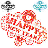 New Year Stamp. With Clock and Glass isolated on white, vector illustration vector illustration