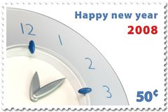 New year stamp. Happy new year 2008 stamp of 50 vector illustration