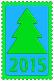 New year on stamp. Illustration of the Christmas tree and new year 2015 symbol stock illustration