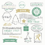 New Year Stamps Collection. Vectors illustration Stock Image