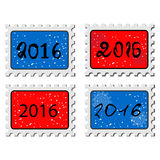 2016. New year stamps. Illustration of a stamp icons with a 2016 sign. Stamps  on white background. Vector Illustration Royalty Free Stock Images