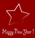 New year star. With red background Stock Photo